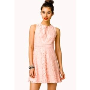 💕Forever 21💕 Pink Floral Lace Short Mini Dress